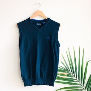 CHAPS V-Neck Cotton Pullover Sweater Vest Navy S